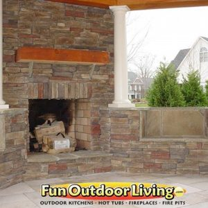 Fun Outdoor Living stone fireplace construction and installation