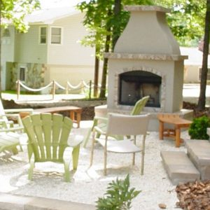 Fun Outdoor Living stone fireplace construction