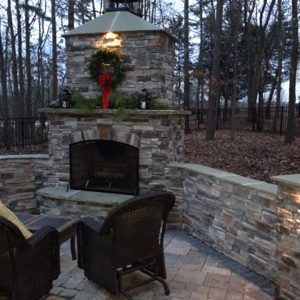 Brick and stone fireplace in winter
