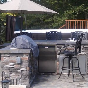 Built-in grill, refrigerator and storage outside