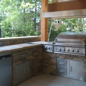Built-in grill, refrigerator and storage