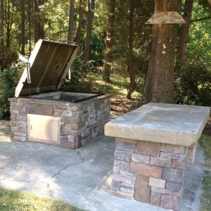Outdoor BBQ Island open to clean