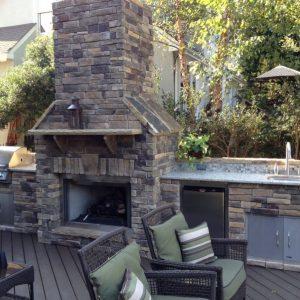 Brick kitchen island with fireplace