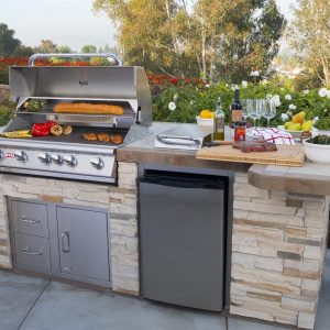 Close up of a outdoor kitchen island