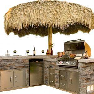 Outdoor kitchen and island with Hawaiian umbrella