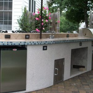 Outdoor kitchen with tile countertops