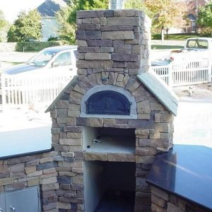 Close up of Fun Outdoor Living's installation of a pizza oven