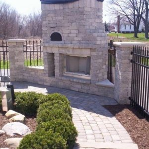 Side view of Fun Outdoor Living construction of a pizza oven