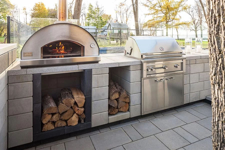 Close up of an oven designed in an outdoor kitchen