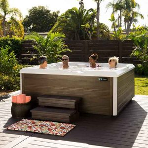 friends in hot tub fun outdoor living