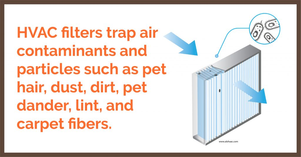 hvac filters trap air contaminants and particles such as pet hair, dust, dirt, pet dander, lint, and carpet fibers.