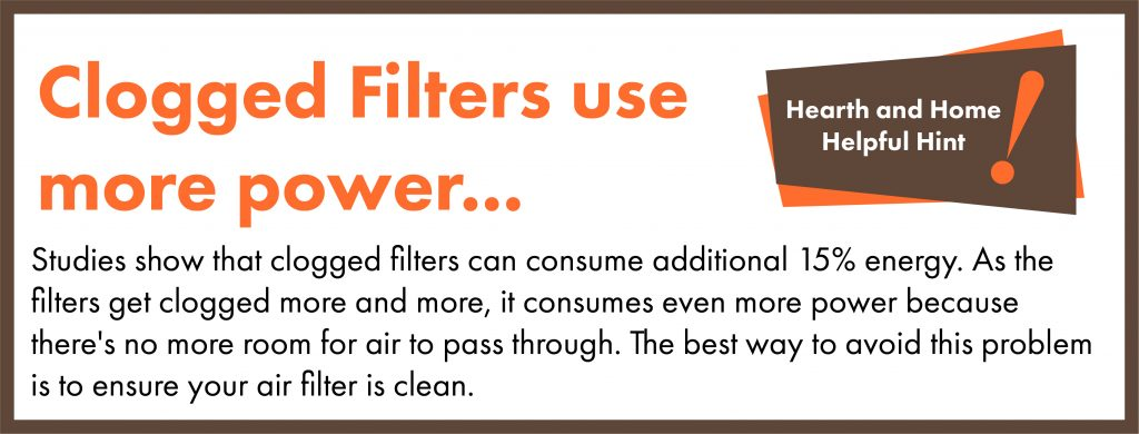 In fact, studies show that clogged filters can consume additional 15% energy. As the filters get clogged more and more, it consumes even more power because there's no more room for air to pass through. The best way to avoid this problem is to ensure your air filter is clean.