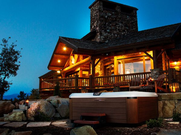 Bullfrog Spa outside of a cabin