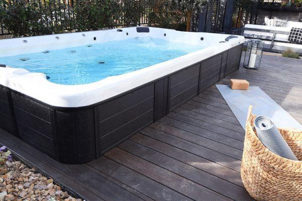 CalSpa swim spa built-in deck