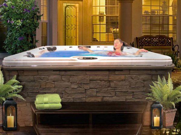 Woman soaking in a CalSpa