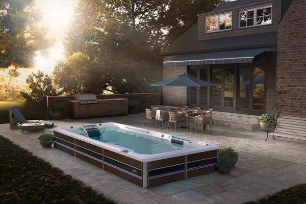 Endless Pool swim spa in backyard