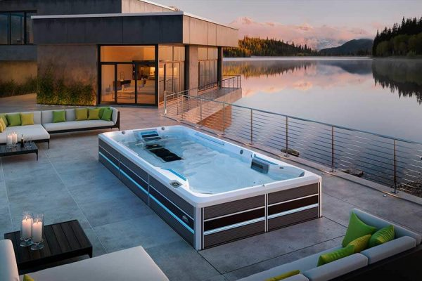 Endless Pool swim spa with lake view