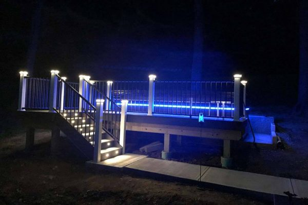 Endless Pool swim spa at night with lights