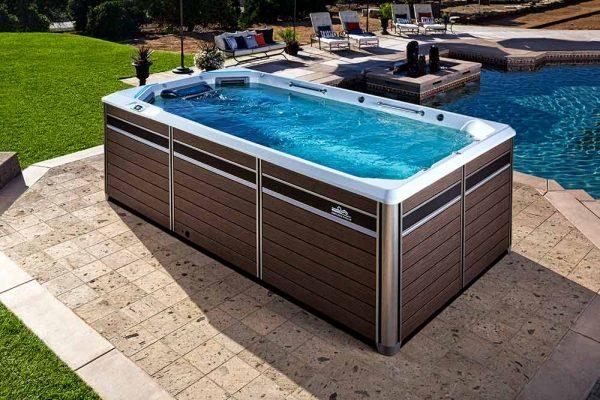 Endless Pool swim spa poolside