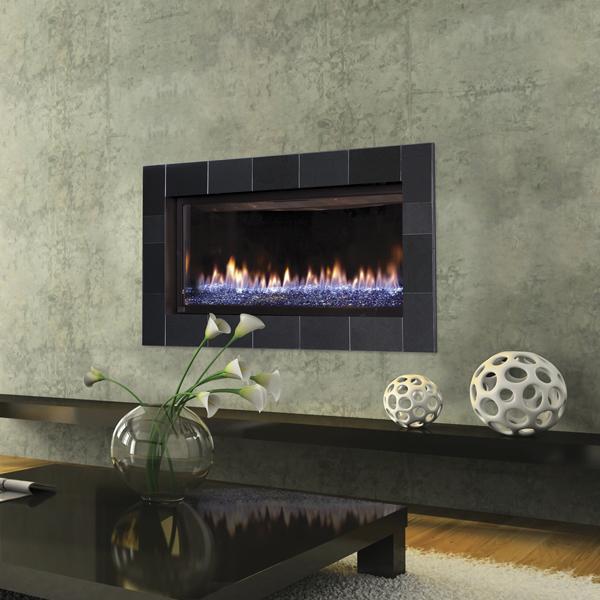 Slayton 42S - cobalt blue glass- gas fireplace