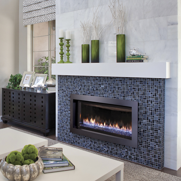 Slayton 42S - cobalt green accents - gas fireplace