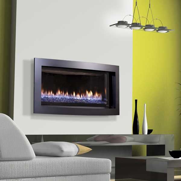 Slayton 42S - convex front cobalt blue glass- gas fireplace