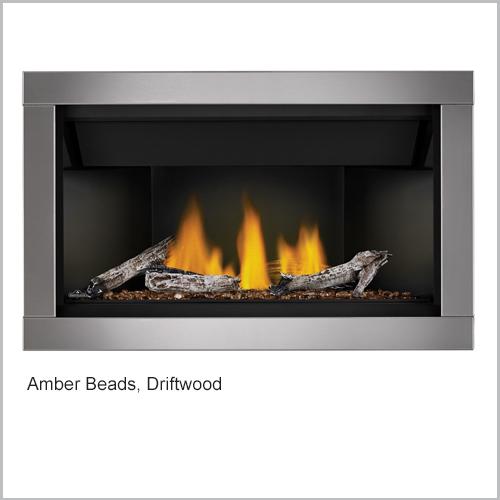 Ascent Gas Fireplace Amber Beads Driftwood