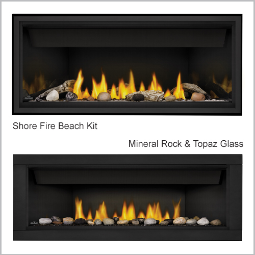 Ascent Gas Fireplace Shore and Rock