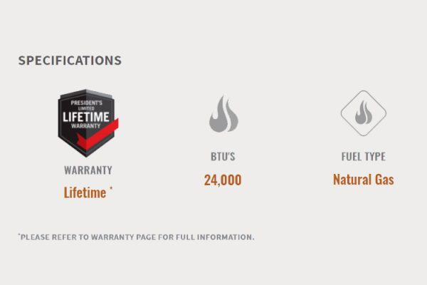 Napoleon Acies 38 Gas Fireplace Specifications