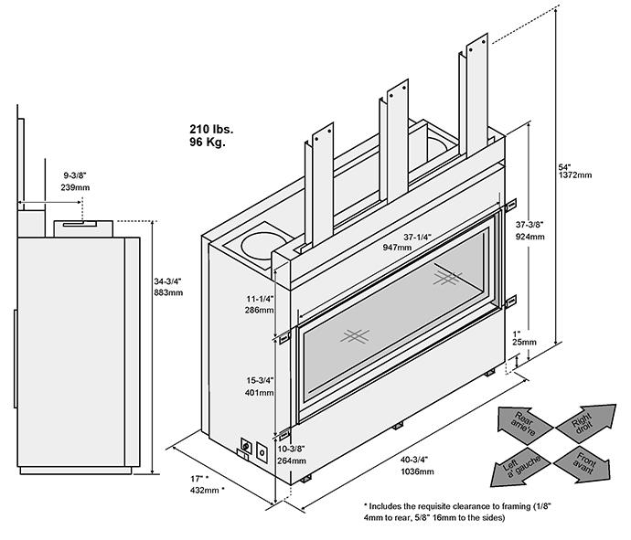 Fireplace X   3615 Dimensions