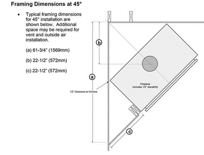 Fireplace X | 42 Apex Dimensions Frame