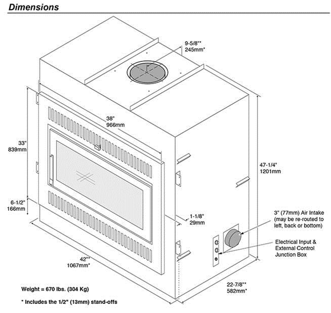 Fireplace X | 42 Apex Dimensions 2