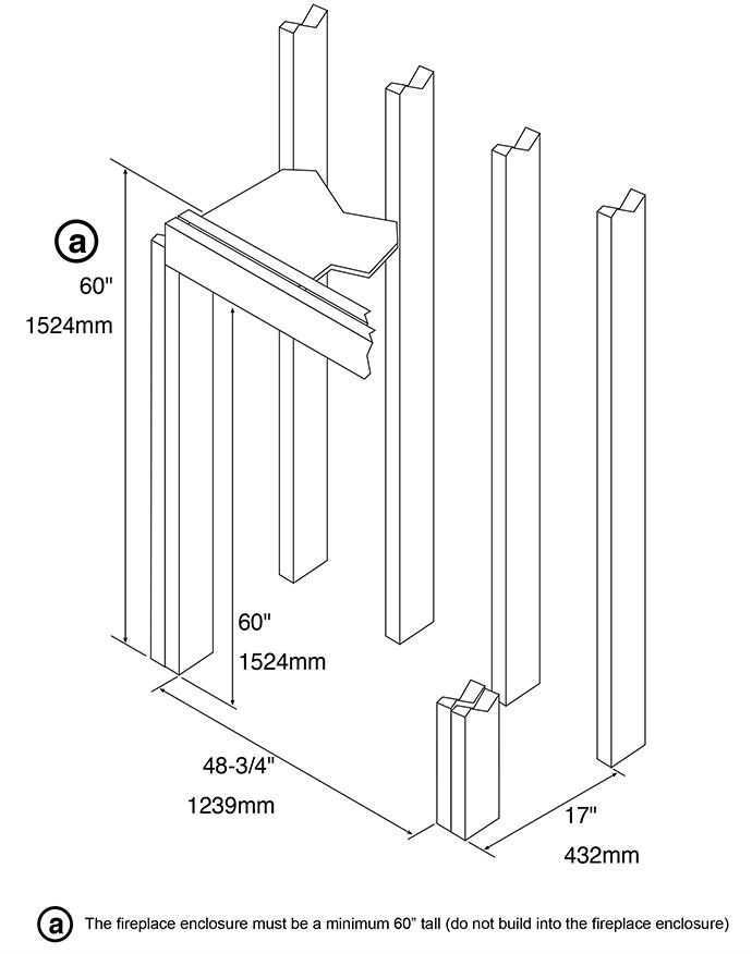 Fireplace X | 4415 HO Linear Frame Dimensions