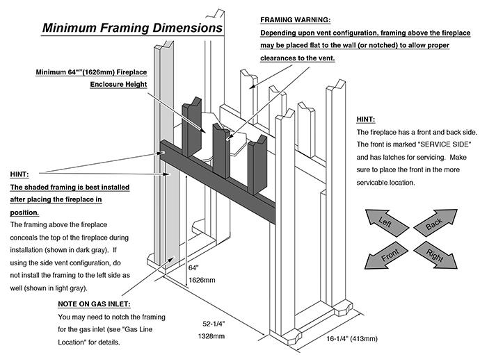 Fireplace X | 4415 ST Linear Dimensions