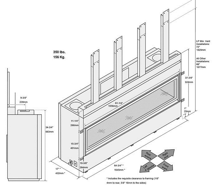 Fireplace X   6015 HO Linear Dimensions 2