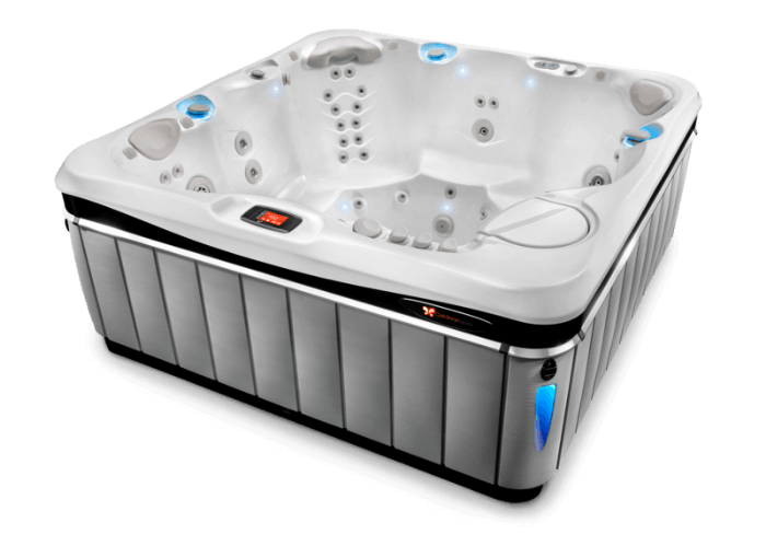 Tahitian 6 person luxury hot tub with 48 jets in slate cabinet and pearl white shell