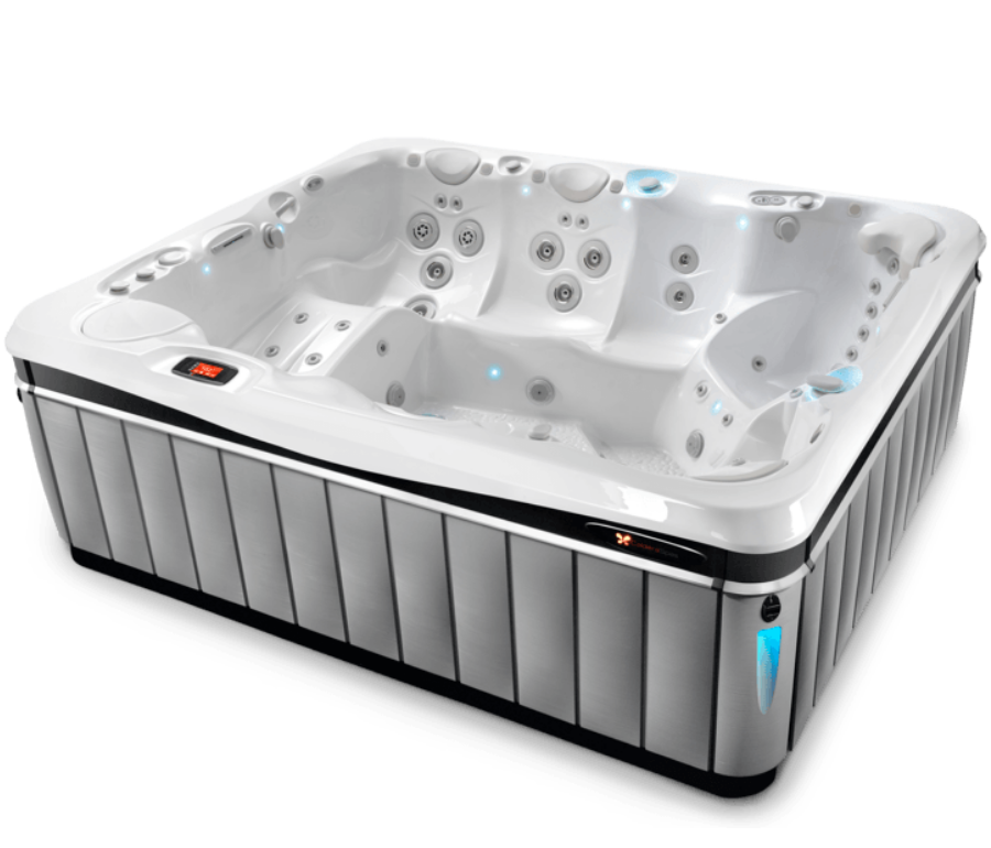 Cantabria 8 person luxury hot tub 3/4 view with slate cabinet and white shell