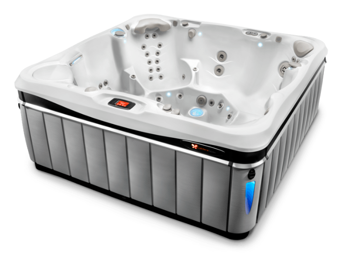 Florence 6 person 7 foot luxury hot tub with Salt System capability in slate color with pearl white interior
