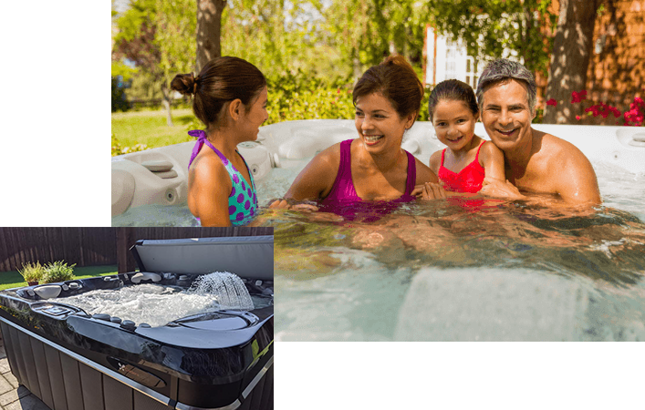 Collage of family in a Caldera Spa hot tub with positive reviews