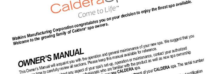Caldera Spas Owners Manuals Family Image