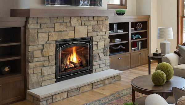 traditional stone fireplace