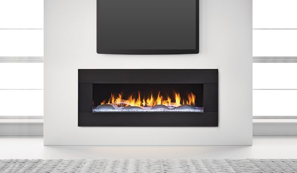 PRIMO 48 - Photo (Straight On, Crystal Glass with The Dunes Modern White Logs, Black Granite Surround, 4C, Low Res)