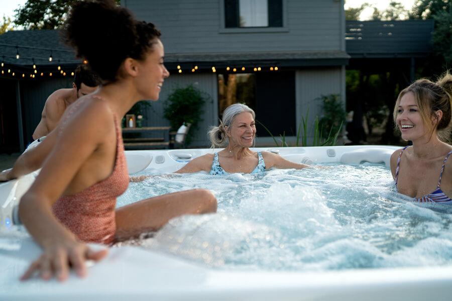 Friends in a salt water hot tub
