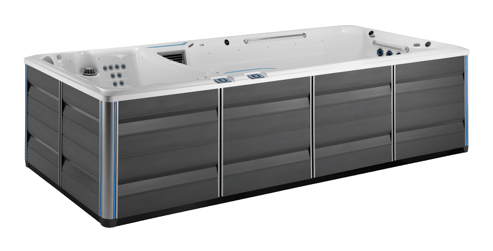 Side view of the 2020 E2000 Endless spa in gray