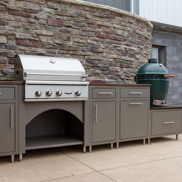 Outdoor kitchens for kamado grills