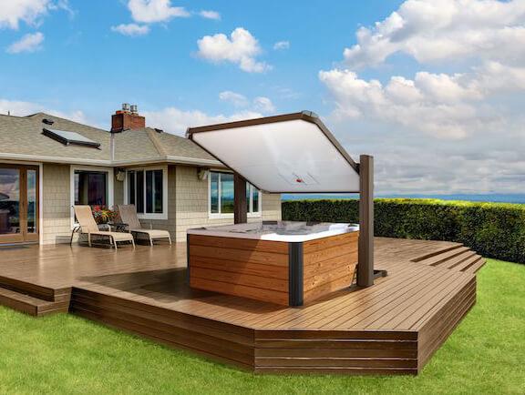 Horizon Covana Cover open over hot tub