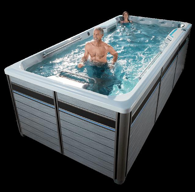 person swimming in Endless pool/swim spa