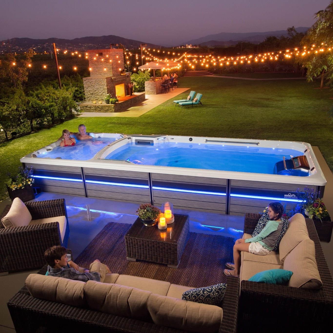 Endless pool fitness system swim spa with hot tub spa in Texas