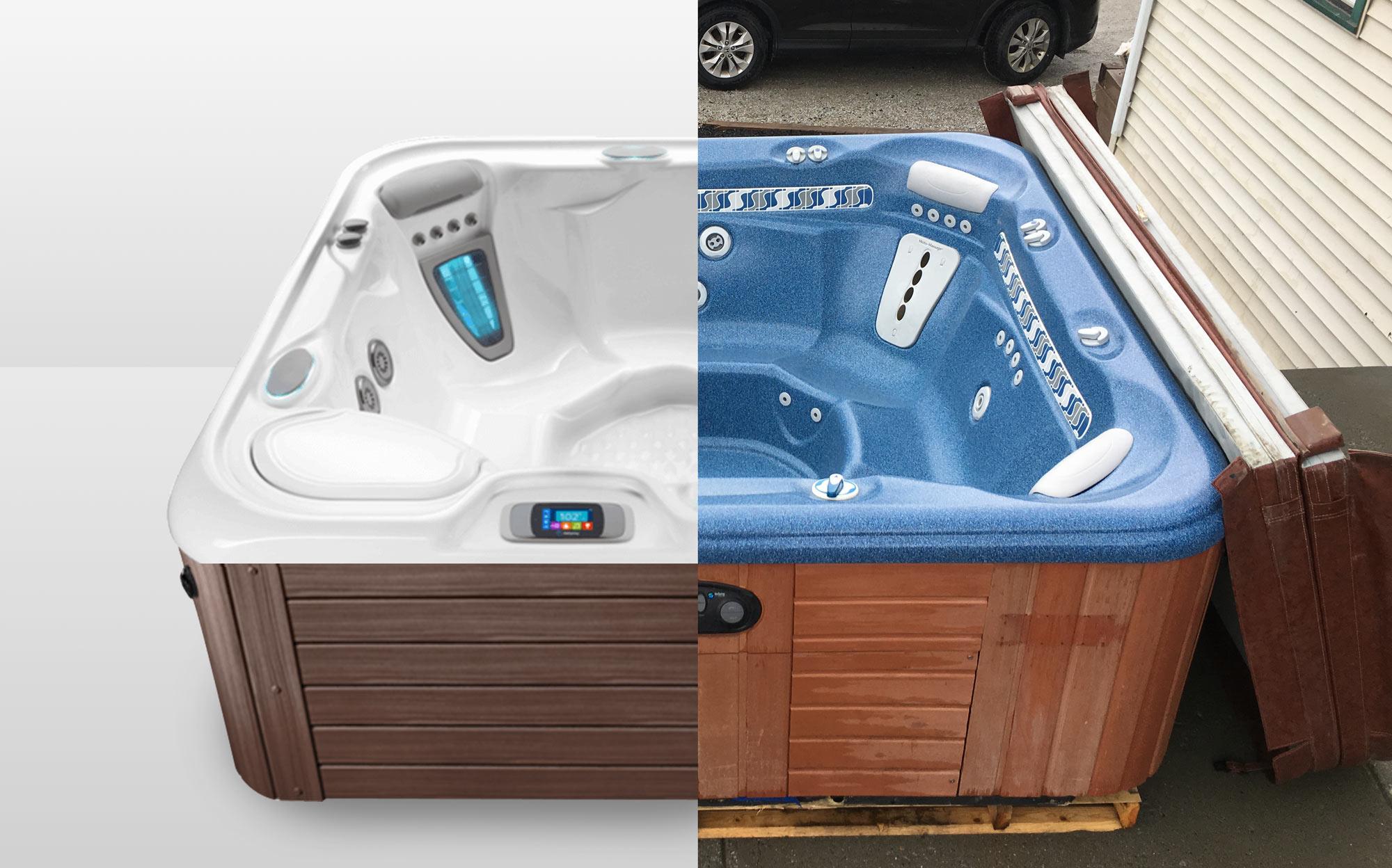 hot tub split view