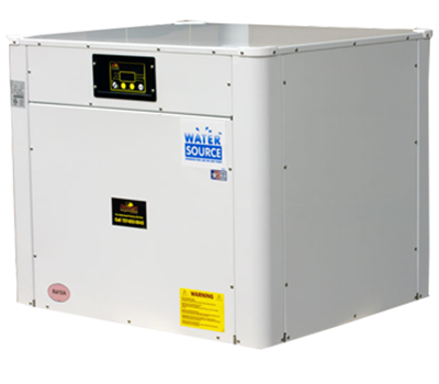 This geothermal heat pump transfers free heat from nearby wells, lakes, canals, or oceans to your swimming pool.